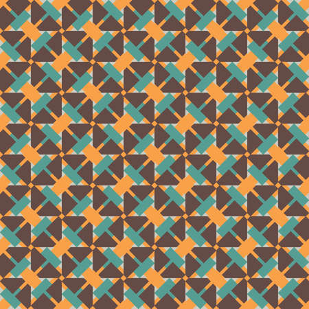 Vector seamless pattern texture background with geometric shapes, colored in brown, orange, blue and grey colors.