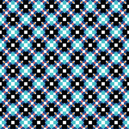 Vector seamless pattern texture background with geometric shapes, colored in black, blue, red, orange and white colors. Çizim