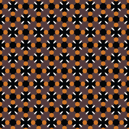 Vector seamless pattern texture background with geometric shapes, colored in brown, black, orange and white colors.