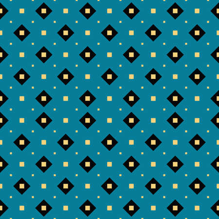 Vector seamless pattern texture background with geometric shapes, colored in blue, yellow and black colors. Çizim