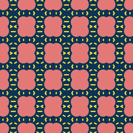 Vector seamless pattern texture background with geometric shapes, colored in red, blue and yellow colors. Çizim