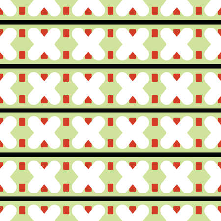 Vector seamless pattern texture background with geometric shapes, colored in green, white, red and black colors.