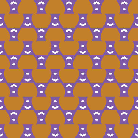 Vector seamless pattern texture background with geometric shapes, colored in violet purple, orange and white colors.