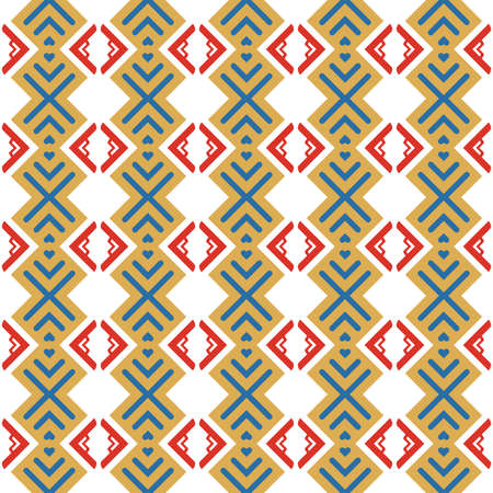 Vector seamless pattern texture background with geometric shapes, colored in yellow, blue, red and white colors.