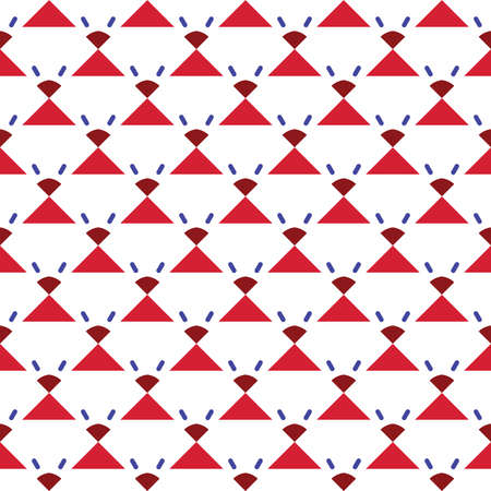 Vector seamless pattern texture background with geometric shapes, colored in red, blue and white colors. Çizim
