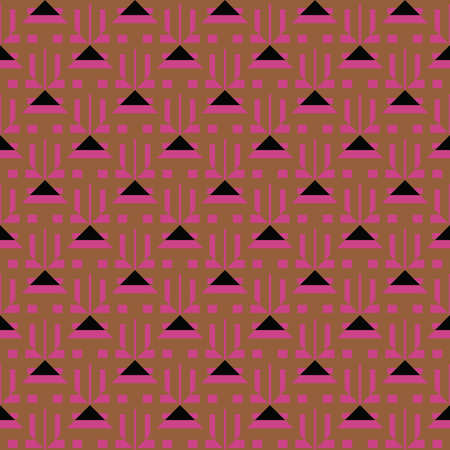 Vector seamless pattern texture background with geometric shapes, colored in brown, violet and black colors.