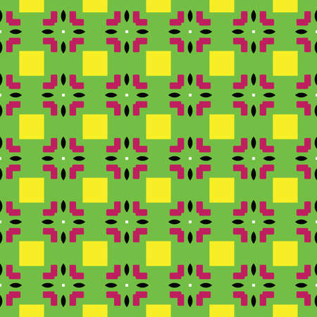 Vector seamless pattern texture background with geometric shapes, colored in green, yellow, red, black and white colors.