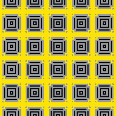 Vector seamless pattern texture background with geometric shapes, colored in yellow, grey and black colors.