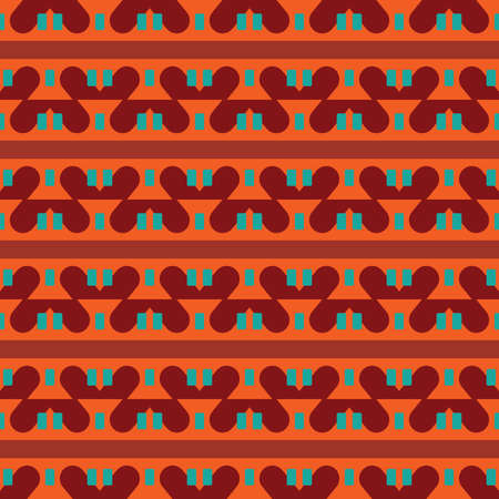 Vector seamless pattern texture background with geometric shapes, colored in orange, red, brown and green colors.