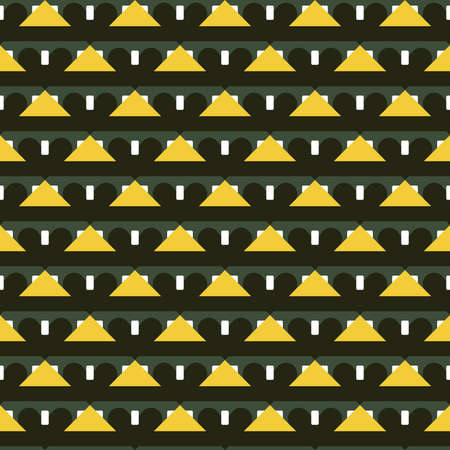 Vector seamless pattern texture background with geometric shapes, colored in blackü green, white and yellow colors.