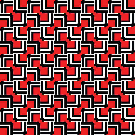 Vector seamless pattern texture background with geometric shapes, colored in red, white and black colors. Çizim