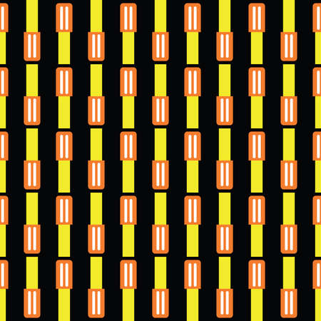 Vector seamless pattern texture background with geometric shapes, colored in yellow, orange, white and black colors.
