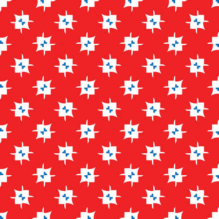 Vector seamless pattern texture background with geometric shapes, colored in red, white and blue colors.