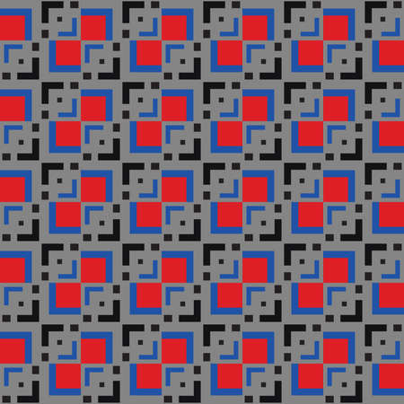 Vector seamless pattern texture background with geometric shapes, colored in grey, black, red and blue colors.