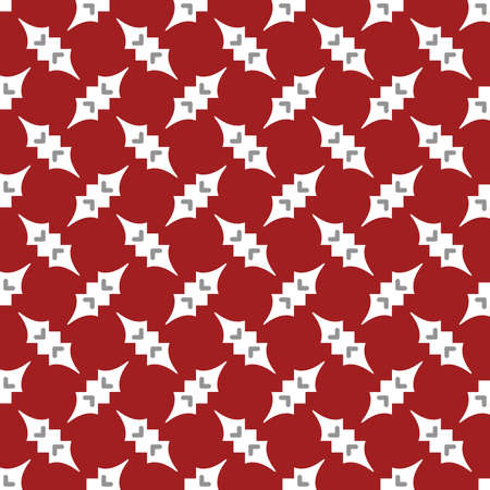 Vector seamless pattern texture background with geometric shapes, colored in red, white and grey colors.