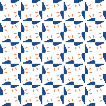Vector seamless pattern texture background with geometric shapes, colored in white, blue and orange colors.