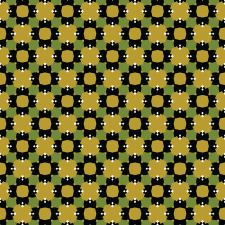 Vector seamless pattern texture background with geometric shapes, colored in green, gold, black and white colors. Vectores