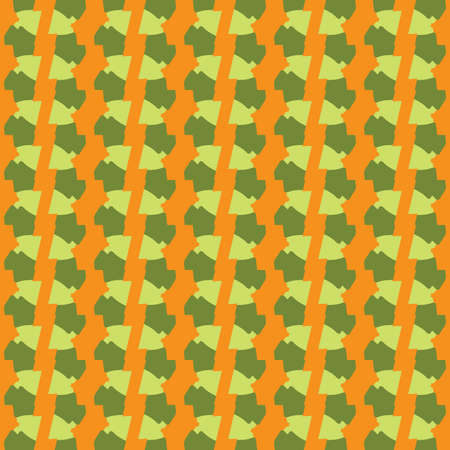 Vector seamless pattern texture background with geometric shapes, colored in orange and green colors.