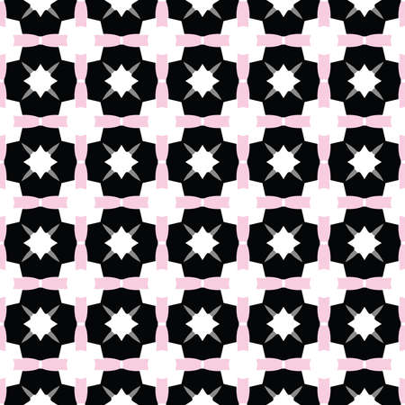 Vector seamless pattern texture background with geometric shapes, colored in black, pink, grey and white colors. Vectores