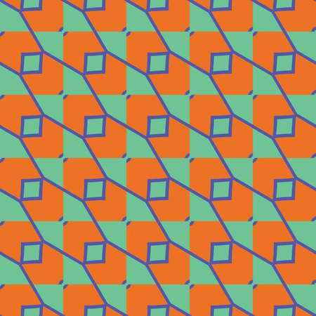 Vector seamless pattern texture background with geometric shapes, colored in orange, blue and green colors.