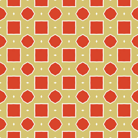 Vector seamless pattern texture background with geometric shapes, colored in yellow, red and white colors. Vectores