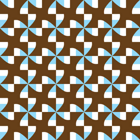 Vector seamless pattern texture background with geometric shapes, colored in brown, blue and white colors.