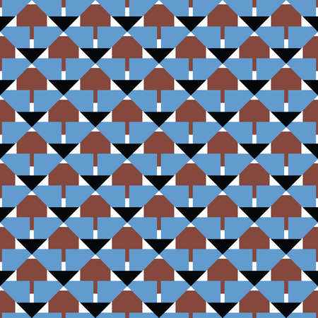 Vector seamless pattern texture background with geometric shapes, colored in blue, brown, black and white colors.