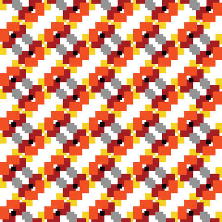 Vector seamless pattern texture background with geometric shapes, colored in red, orange, yellow, grey, black and white colors. Vectores