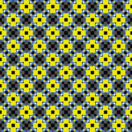 Vector seamless pattern texture background with geometric shapes, colored in yellow, blue, grey, black and white colors.
