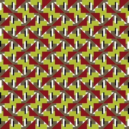 Vector seamless pattern texture background with geometric shapes, colored in red, green, brown, white and black colors.