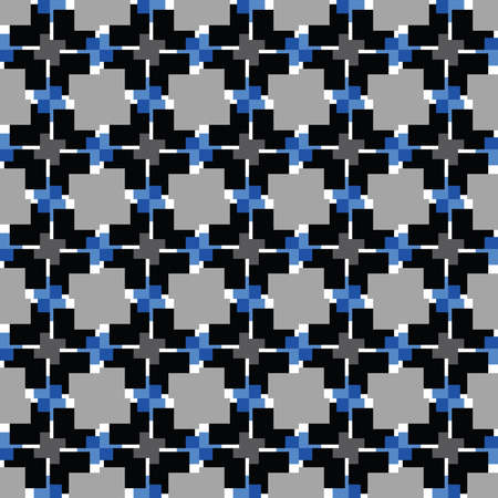 Vector seamless pattern texture background with geometric shapes, colored in black, grey, blue and white colors.