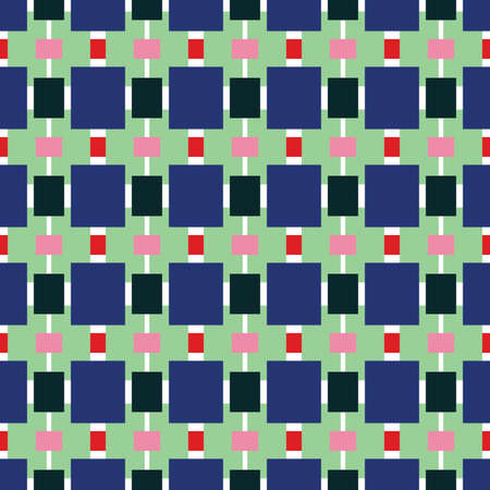 Vector seamless pattern texture background with geometric shapes, colored in blue, green, pink, red and white colors.