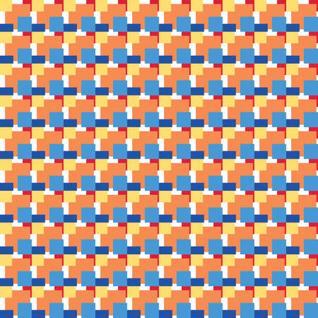 Vector seamless pattern texture background with geometric shapes, colored in blue, orange, red, yellow and white colors.
