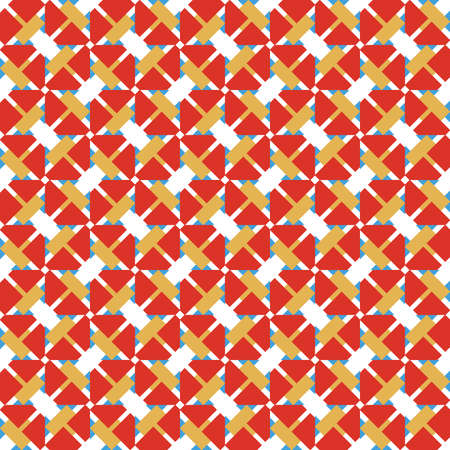 Vector seamless pattern texture background with geometric shapes, colored in red, yellow, blue and white colors.