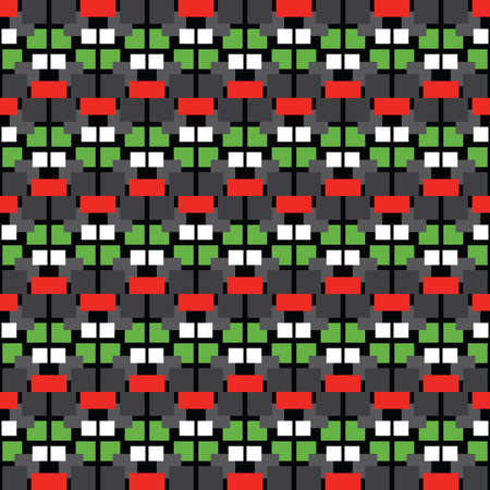 Vector seamless pattern texture background with geometric shapes, colored in black, grey, white, red and green colors.