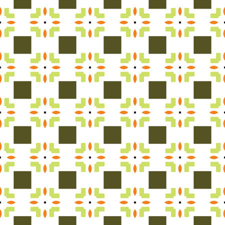 Vector seamless pattern texture background with geometric shapes, colored in green, orange, black and white colors.