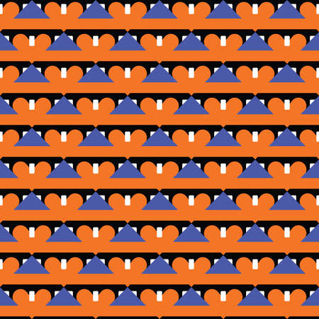 Vector seamless pattern texture background with geometric shapes, colored in orange, blue, black and white colors. Vectores