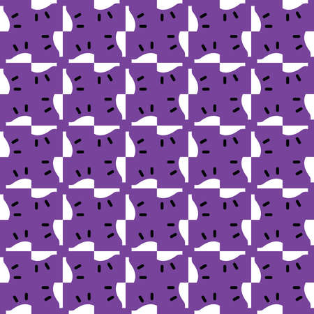 Vector seamless pattern texture background with geometric shapes, colored in purple, white and black colors. Vectores