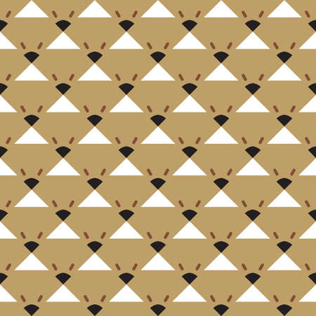 Vector seamless pattern texture background with geometric shapes, colored in brown, black and white colors.