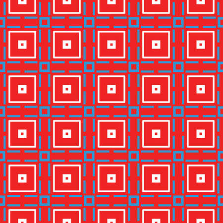 Vector seamless pattern texture background with geometric shapes, colored in red, blue and white colors. Vectores