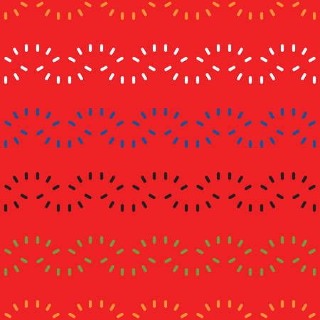 Vector seamless pattern texture background with geometric shapes, colored in red, orange, white, blue, black and green colors. Vectores