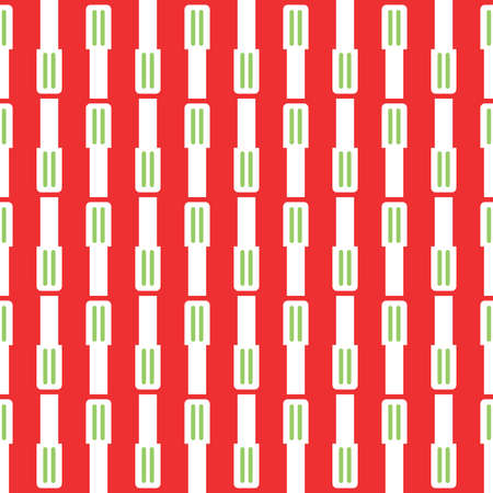 Vector seamless pattern texture background with geometric shapes, colored in red, green and white colors.