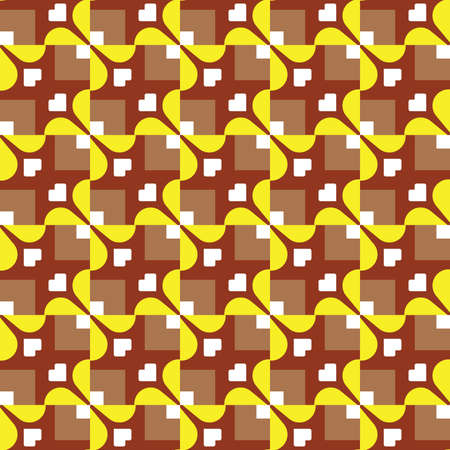 Vector seamless pattern texture background with geometric shapes, colored in brown, yellow and white colors. Vectores