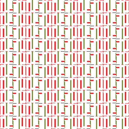 Vector seamless pattern texture background with geometric shapes, colored in green, red, black and white colors. Vectores