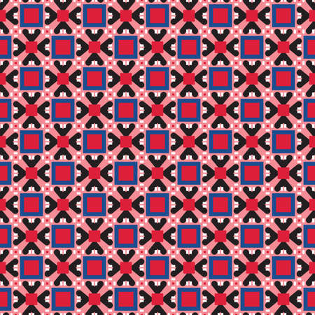 Vector seamless pattern texture background with geometric shapes, colored in red, blue, black and white colors.