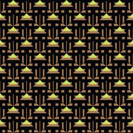 Vector seamless pattern texture background with geometric shapes, colored in brown, green and black colors. Vectores