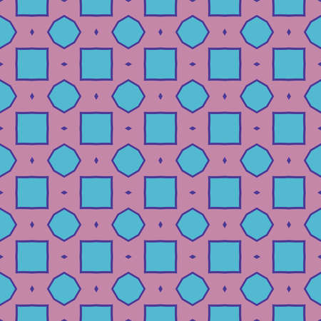 Vector seamless pattern texture background with geometric shapes, colored in viola red and blue colors.