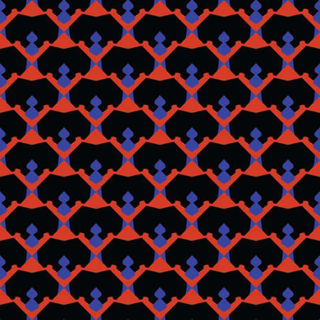 Vector seamless pattern texture background with geometric shapes, colored in black, red and blue colors. Ilustração