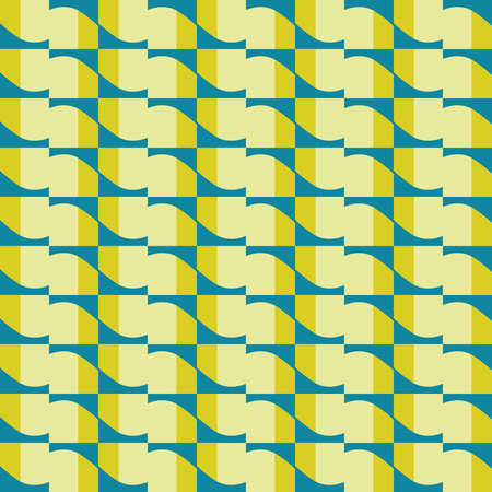 Vector seamless pattern texture background with geometric shapes, colored in yellow and blue colors. Ilustração