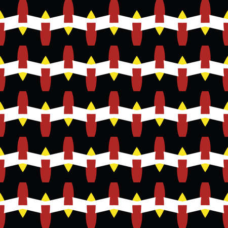 Vector seamless pattern texture background with geometric shapes, colored in black, red, yellow and white colors.